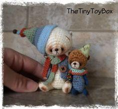 OOAK ARTist Miniature Bear / Dolls Vintage Style by TheTinyToyBox Thread Crochet
