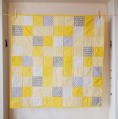 BABY QUILT Modern Bright Yellow and Grey Baby by TwoCornerQuilts