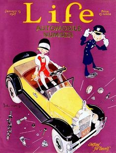 """Items similar to Life Magazine Cover Book Print. """"Shifting for Herself"""". Jazz Age Flapper in Automobile. Life Magazine, Magazine Art, Magazine Covers, Old Magazines, Vintage Magazines, Life Cover, American Illustration, Ad Art, The New Yorker"""