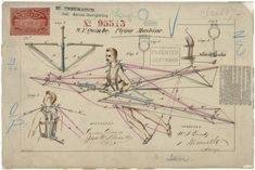 1869:  Patent drawing of a flying machine