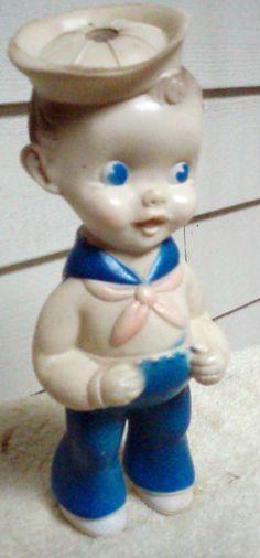 Old Vintage Sun Rubber Co. Sailor Boy Squeaky Doll Ruth E. Newton