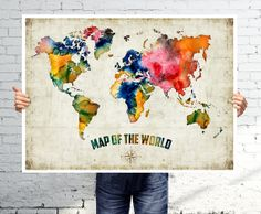 World map   Watercolor map  Art print  POSTER by BOX21 on Etsy, $25.00