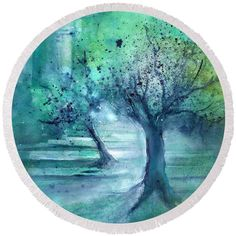Olive Trees In Moonlight Round Beach Towel featuring the painting Olive Trees in Moolight by Sabina Von Arx Teal Blue, Blue Green, Green Bathroom Decor, Olive Tree, Summer Essentials, Beach Towel, Green Colors, Watercolor Paintings, Moonlight