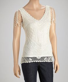 Take a look at this Cream Crocheted Top on zulily today!