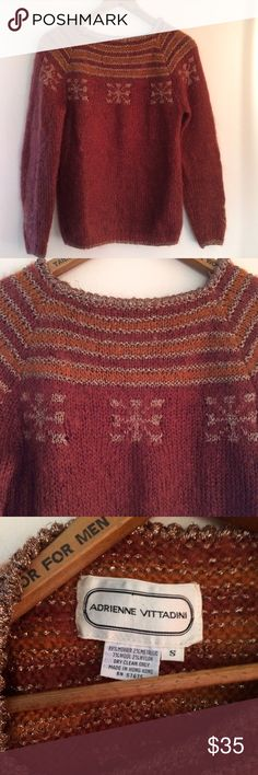 Vtg Adrienne Vittadini Maroon Mohair Sweater Gorgeous Maroon Mohair Adrienne Vittadini Pullover sweater with metallic details. Normal wear - no holes. Adrienne Vittadini Sweaters Crew & Scoop Necks