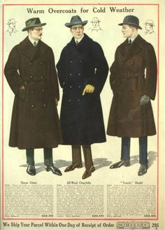 1918 Men's coats. White suits were slim, overcoats were huge! Very wide and boxy coats for winter driving conditions. More about men's 20s coats.