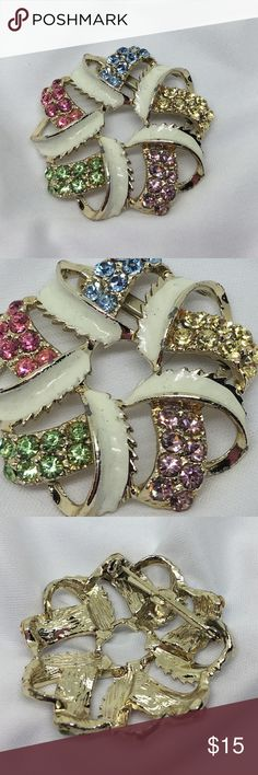 """🆕Vintage Enamel and Mixed Pastels Rhinestone Pin A 2"""" in diameter """"love knot"""" pin in cream Enamel and multi-color pastel rhinestones. In excellent vintage condition, very little signs of age. Just gorgeous! Vintage Jewelry Brooches"""