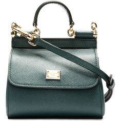 Dolce And Gabbana Green Pebbled Leather Mini Miss Sicily Bag ($635) ❤ liked on Polyvore featuring bags, handbags, shoulder bags, dolce gabbana purses, mini shoulder bag, dolce gabbana handbags, pebbled leather handbags and structured purse