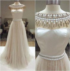 Pd604148 Charming Prom Dress,O-Neck Prom Dress,Beading Prom Dress,Tulle Prom Dress,A-Line Evening Dress