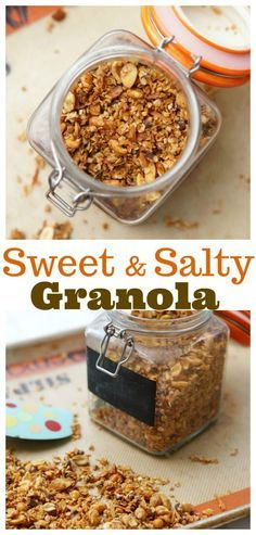 Sweet and Salty Homemade Granola is the perfect topping for yogurt, ice cream, or oatmeal! You will be in love with this easy homemade granola recipe! Gourmet Recipes, Sweet Recipes, Dessert Recipes, Pasta Recipes, Soup Recipes, Vegetarian Recipes, Snack Recipes, Healthy Recipes, Quick Snacks