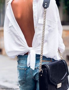 Latest street style trend, wear white shirt backwards! #fashion #fashiontrend #whiteshirt #backwards #streetstyle #fabfashionfix