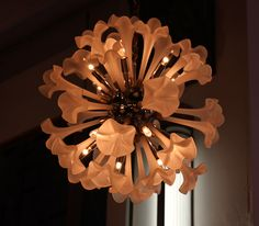 Rare frosted glass trumpet lily chandelier