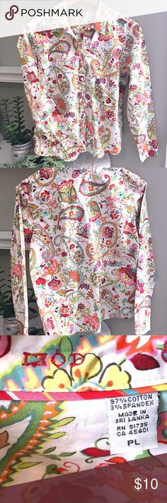 Izod Paisley Print button down shirt Bright and beautiful paisley pattern on this classic button down! Excellent condition, no flaws! Izod Tops Button Down Shirts