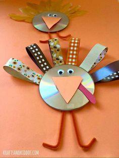 CD Turkey Craft for kids on Thanksgiving - Krafts and Kiddos Cd Crafts, Daycare Crafts, Sunday School Crafts, Diy Arts And Crafts, Craft Stick Crafts, Crafts To Do, Thanksgiving Crafts For Kids, Holiday Crafts, Turkey Craft
