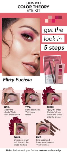 Pink eyeshadow doesn't have to be intimidating. Your go-to fall pink makeup look in 5 easy steps: Use just 3 shades from the Color Theory Eye Kit in Pink & the included Plum eyeliner to create this fun, flirty fuchsia look. Makeup Geek Eyeshadow, Eyeshadow Brands, Hazel Eye Makeup, Blending Eyeshadow, Cream Eyeshadow, Matte Eyeshadow, Eyeshadows, Eyeshadow Palette, Sparkly Eyeshadow