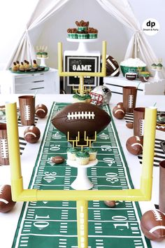 69b4a7740bfd Football party. Indoor football picnic teepee setting. Teepee party.  Football party ideas.