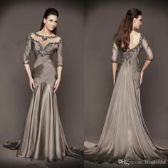 2016 Luxury Chocolate Sheer 3/4 Long Sleeves Pleated Formal Mother Of Bride Evening Dresses 2016 Beaded Crystal Backless Party Gowns Mother Of The Bride Dresses Summer Mother Of The Bride Dresses Usa From Blissbridal, $130.9| Dhgate.Com