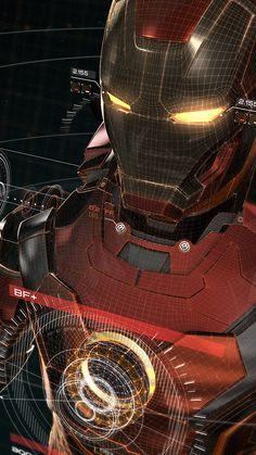IRONMAN 3D RED GAME AVENGERS ART ILLUSTRATION HERO WALLPAPER HD IPHONE