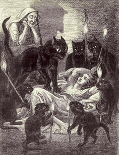 Cats Guarding the sick Witch - Leonard's Dream | from The Lances of Lynwood by Charlotte Mary Yonge, 1855 | illustration by Jane Blackburn