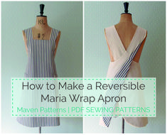 Maven Patterns: The Maria Wrap Apron reversible tutorial Maisjapanese cross back apron pattern free Sewing Hacks, Sewing Tutorials, Sewing Crafts, Sewing Tips, Sewing Lessons, Apron Pattern Free, Pdf Sewing Patterns, Dress Patterns, Vintage Apron Pattern