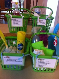 Divide and conquer. Individual baskets with a list chores and necessities.