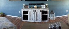 Rustic White Wash Console