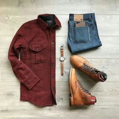 A Plaid Shirt + boots to make a perfect outfit for any occasion!    Men's Style ideas   Fashion ideas for Men   Men's Streetstyle   Outfit Grids for Men   Casual wear for Men   Men's outfit flatlay