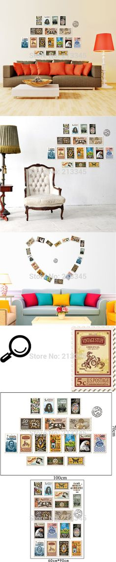 [Saturday Monopoly] DIY wall sticker home decor vintage stamps creative decals living room sofa wall background decoration 5376 $7.89