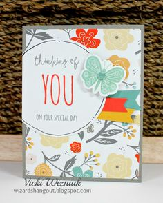 Have you checked out the fun new CTMH Dreamin' Big paper packet? It has matching stamps, too.  And I used one of them on this card, called Dreamin' Big - Cardmaking, which also has matching Thin Cuts