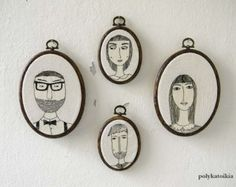 Custom Family Portrait,Set of 4,Personalized Portrait,Oval Custom Family Portrait,Hand Embroidered Custom Portrait,Embroidered Wall Art