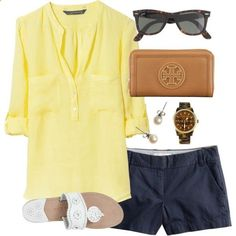 Yellow, Navy, and Tortoise by classically-preppy, via Polyvore