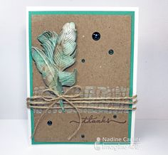 Imagine Artist Nadine Carlier creates a marbleized shimmer effect on a feather die cut using Creative Medium – Shimmer, Iridescent Green, Brilliance Ink – Pearlescent Beige, Pearlescent Jade, VersaColor – Pinecone. Wintergreen is Imagine's color of the month! papercraft. cardmaking. handmade card.