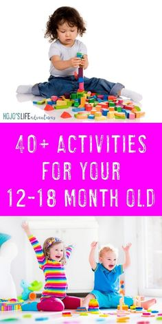 Moms check out these 40 different activities to do with your 12-18 month old. These simple ideas, tips, crafts, toys, & other learning can take place at home. No toddler will run out of things to do with the DIY and learning that takes place here. Parents are teaching their children through play. Food, sensory ideas, fine & gross motor work, & much more! {12, 13, 14, 15, 16, 17, 18 month old toddler -- twelve, thirteen, fourteen, fifteen, sixteen, seventeen, eighteen months old, must