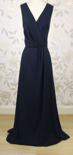 Super BNWT Kaliko Tuck Wrap Navy Blue Jersey Maxi Long Evening Dress Size 14 | eBay