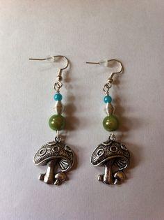 Green bead and mushroom charm earrings #etsy, #MoggysMall, #mushroom, #earrings