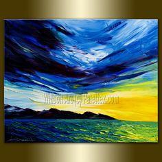 Original Textured Palette Knife Seascape Painting by willsonart, $125.00