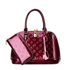 Women's Bags, Totes,Fashion Purse and Wallet Set - 1 Maroon - - Beutel Fall Handbags, Fashion Handbags, Purses And Handbags, Fashion Bags, Style Fashion, Patent Leather Handbags, Leather Purses, Leather Bag, Wine Purse