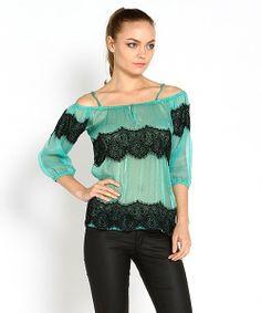 Look what I found on #zulily! Marineblu Jade Sheer Lace Drop Shoulder Top by Marineblu #zulilyfinds