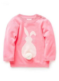Seed Heritage. Super soft, Acrylic Jumper. Fully knitted jumper with intarsia bunny, featuring pom pom tail. Crew neck with ribbed cuff and hem. Available in Fluro Pink as shown.