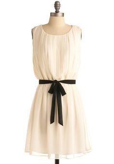 why have a little black dress when you can have a little white dress with a black ribbon belt ❤