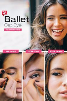 """The """"ballet cat eye"""" is perfect for a beautiful, on-trend look for the holidays. 1) Brush a horizontal line with black gel liner above upper lashes, ending just beyond the outer corner 2) Repeat step 1 on lower lash line, using black eye shadow for a softer effect. PRO TIP: Achieve a horizontal line in 2 steps: First line lid, then extend outward 3) Curl upper lashes & finish both upper and lower lashes with 2-3 coats of black mascara. Click through to shop everything you'll need for this lo..."""