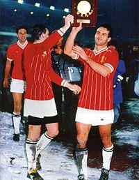 Storia della Juventus Football Club - Sergio Brio, Marco Tardelli e Antonio Cabrini, tra i protagonisti del Grande Slam nelle coppe europee, festeggiano il trionfo nella Supercoppa UEFA 1984.