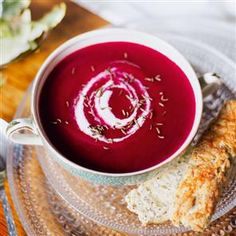 Beetroot and apple soup with Lancashire cheese scone fingers Recipe | delicious. Magazine free recipes