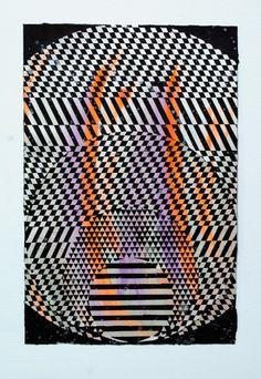 Jeffrey Scott Mathews - Phase Shift 003. Acrylic and gouache on paper.  15 x 10 inches