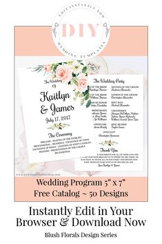 75 Best Wedding Program Fans, DIY Printable Templates images