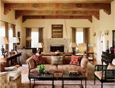 Wonderfully painted beams in a classic 1920's Spanish Colonial.  Dering Hall - found on brookeglannetti.typepad.