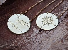 Compass Necklace / Large Pendant With Quote / The by Bubblebox