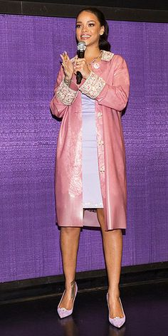 Last Night's Look: Love It or Leave It? | RIHANNA | in a Holly Fulton periwinkle dress and pink embellished jacket, plus Holly Fulton X Christian Louboutin pink suede pumps at a screening of Home in Plano, Texas.