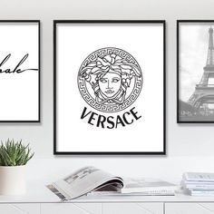 Versace Fashion Print  ♡ INSTANT DIGITAL DOWNLOAD  Fashion Brand Typography Art - Black & White - Printable Art.  This beautiful instant download printable design is perfect for design your home. You can print at home, at your local print shop, or upload the files to an online printing service. With digital downloads, you do not need to wait for postal delivery. Just download, print and enjoy your new interior look. *NO PHYSICAL ITEMS WILL BE SHIPPED  -------------------------------------...