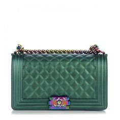 60304f65059b CHANEL Iridescent Goatskin Quilted Medium Boy Flap Green ❤ liked on  Polyvore featuring bags